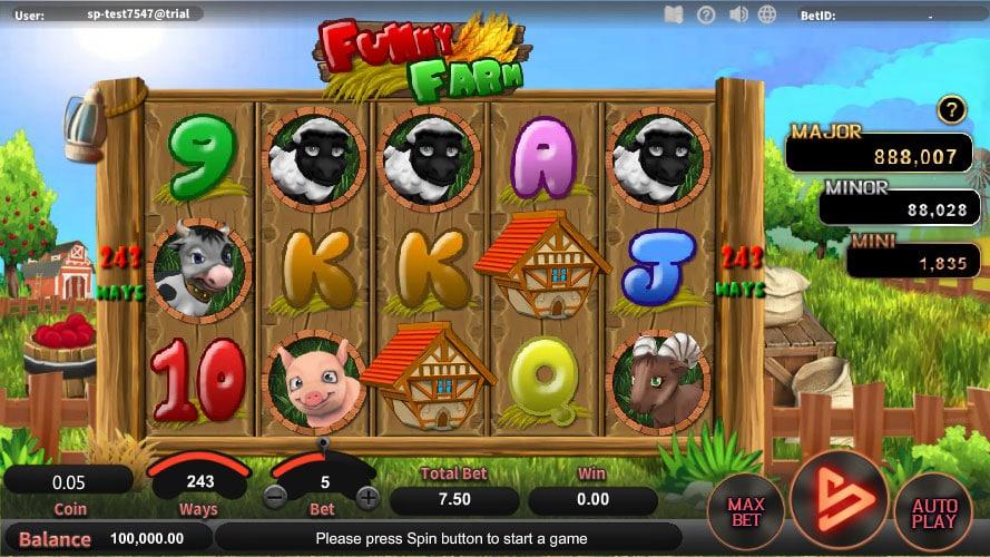 หน้าการเล่น Funny Farm สล็อตออนไลน์