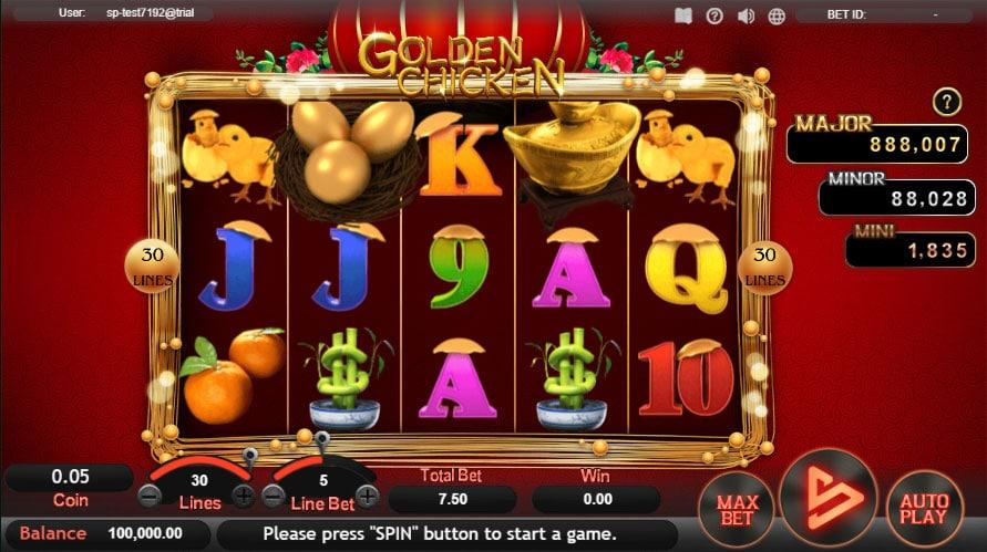 หน้าการเล่น Golden Chicken สล็อตออนไลน์