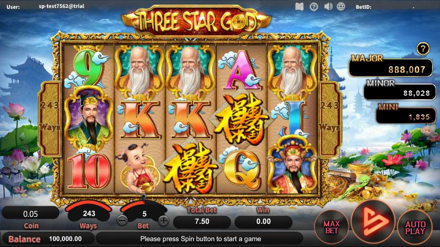 หน้าการเล่น Three Star God สล็อตออนไลน์