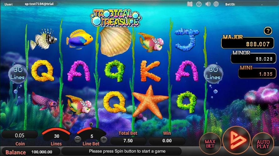 หน้าการเล่น Tropical Treasure สล็อตออนไลน์