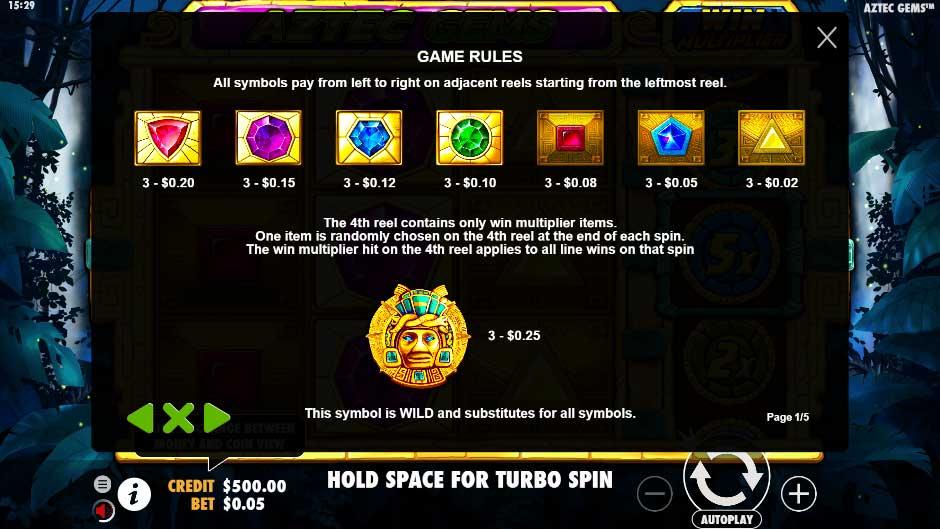 สัญลักษณ์ภาพ เกมสล็อต Aztec Gems